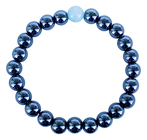 Ezina Designs Meditation Collection Alaskan Magnetic Therapy Hematite & Glacial Water Cleansed Aquamarine Stretch Bracelet. Responsibility Band. Clarity of Communication and Confidence. Black Diamond