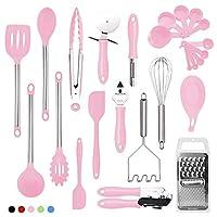キッチンツール 食器シリコンとステンレススチール製ナイロンノンスティックスパチュラセットベーキングツールを調理台所用具セット25Piece 調理器具 耐熱 (Color : Pink)
