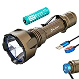 SKYBEN Olight Warrior X Turbo 1100 Lumen 1000 Meter Throw Tail Switch 21700 Battery Magnetic Rechargeable Tactical Flashlight, Battery Box Included (Desert Tan)