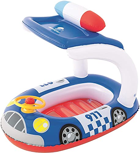 Bestway 34103 Poolboot Schutz UV Careful Kiddie Car Float 98x66 cm, Kinderboot mit Sonnendach, bunt (Blau)