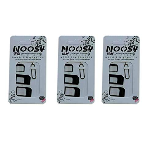 AptoFun Set di adattatori per sim card + Sim card Needle in bianco per Nanosim, Mikrosim e SIM standard. Per iPhone XR, 8,7,6,5,5s, 4, HTC, Samsung, Sony, set di adattatori per sim card Huawei in nero