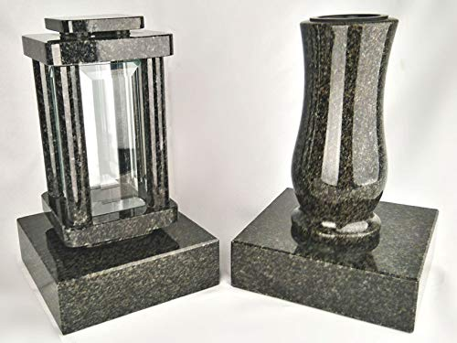 designgrab Lampe funéraire moderne avec vase et 2 bases en granit Nero Impala/Astor anthracite