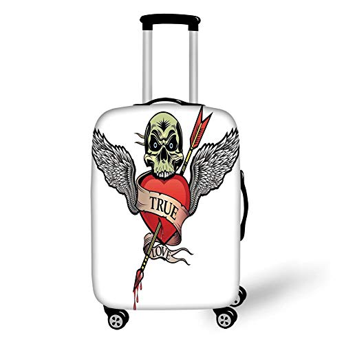 Travel Luggage Cover Suitcase Protector,Tattoo Decor,Skull with Diamond Eyes and Floral Vine Art Tattoo Renaissance Inspired,Brown and Black,for Travel,S