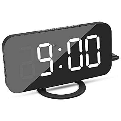 "Elecstars Alarm Clock, Digital Clock with Dual USB Port and Charger, 6.5"" Large LED Display, Adjustable Brightness, Diming Mode, Mirror Surface, Table Clock for Bedroom Living Room Decor"
