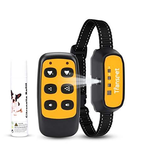 Transpet Anti-Bell-Hundehalsbänder, Fernbedienung/Auto-Stop-Bell-Gerät, 150 Meter Reichweite, Spray Hundetraining-Halsband mit harmlosem, per USB wiederaufladbarem (inklusive Citronella-Spray)