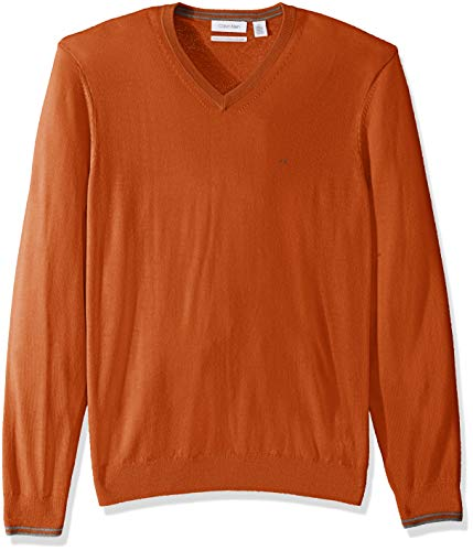 Calvin Klein Men's Merino Sweater V-Neck Solid, MORNESE, X-Small