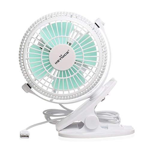 KEYNICE USB Clip Desk Personal Fan, Table Fans,Clip on Fan,2 in 1 Applications, Strong Wind, 2 in 1 Applications, Strong Wind, 4 inch 2 Speed Portable Cooling Fan USB Powered by Netbook, PC