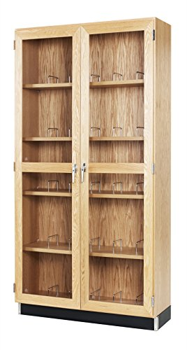 Diversified Woodcrafts 372-3616 Natural Transparent Finish Solid Oak Wood Glass Microscope Storage Case, 36' Width x 84' Height x 16' Depth
