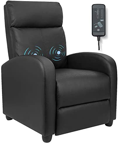 Best Furniwell Recliner Chair Massage Home Theater Seating Wing Back PU Leather Modern Single Living Room