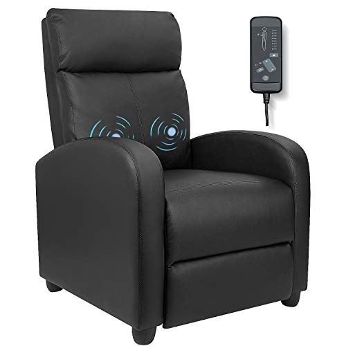 Furniwell Recliner Chair Massage Home Theater Seating Wing Back PU Leather Modern Single Living Room...