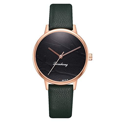 HBR Armbanduhren Vogel-Spiegel-Quarz-Uhr for Frauen-Mädchen-Damen nehmen Runway DREI Hand-Uhr-Frauen-Armband-Kleid-Leder-Uhr Damen Uhren (Color : Green)