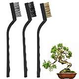 Cepillo de alambre, mini cepillo de alambre duradero de 3 piezas con mango de plástico ergonómico utilizado para grietas de árboles, tratamiento de rebabas, cepillo de corteza muerta, cepillo de cipré