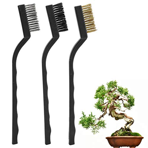 FAMKIT 3Pcs Bonsai Brush, Mini Wire Brush with Plastic Handle for Cleaning Tree Trunk Burr