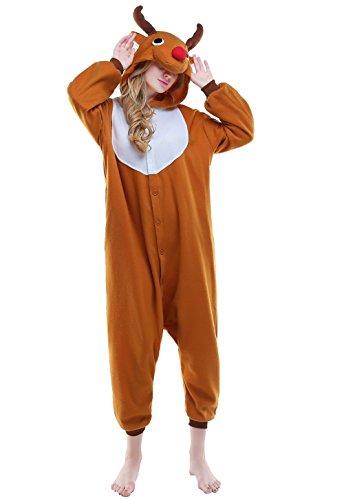 NEWCOSPLAY Unisex Reindeer Pyjamas Onesie Christmas Costume (XL, Brown)