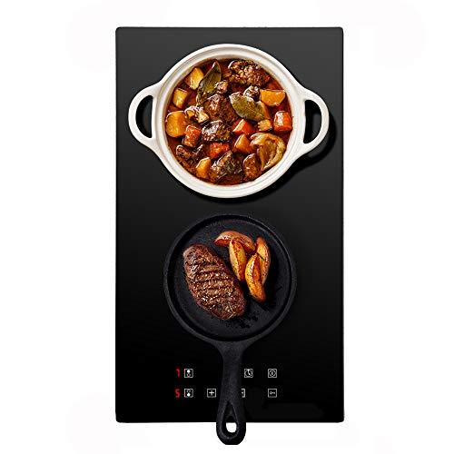 Doble placa de cocción vitrocerámica, 1800 + 1200 W, 9 niveles de potencia, temporizador y todo tipo de utensilios, panel táctil LED