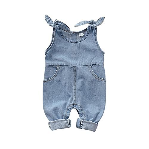Burkashear - Salopette in jeans per bambina, con bretelle, con bottoni, con tasche laterali slanciate, comode per neonata, 0-18 mesi, idea regalo blu 0-3 Mesi