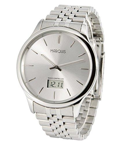 Elegante MARQUIS Herren Funkuhr (Junghans-Uhrwerk) Gehäuse und Armband aus Edelstahl 964.6022