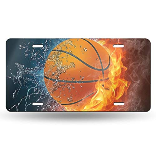 MSGUIDE Basketball On Water and Fire Background Personalized Front License Plate Cover,Novelty Aluminum Metal Car Vanity Tag Plates Decorative for Men Women Girl Gift(6 X 12 Inch)