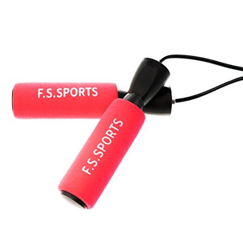 FS Sports, corda per saltare di alta qualità, perfetta per l'allenamento, il fitness, la boxe, lunghezza regolabile, molto comoda da tenere in mano, Colore: rosso