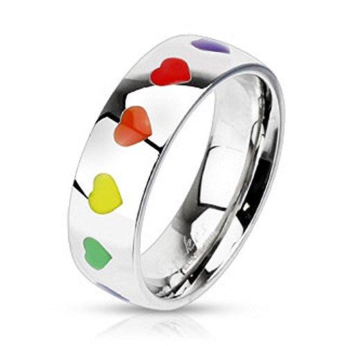 Bungsa 49 (15.6) Regenbogen Herz Ring Damen - silberner EDELSTAHLRING für Frauen mit bunten Herzen - DAMENRING mit grünem, gelbem, orangem, rotem & violettem Herz - Rainbow LGBT Gay Pride