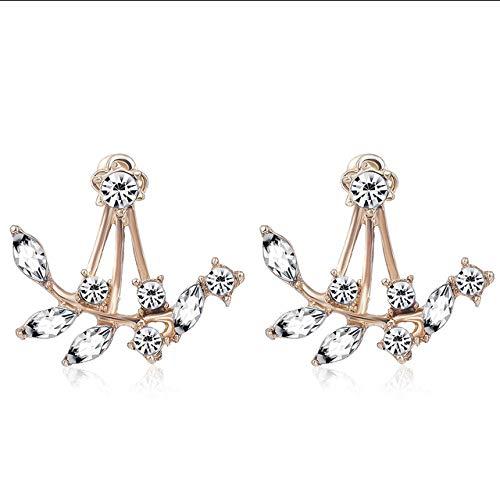 ZYJ Crystal Leaf Ear Jacket Ohrringe Gold Color Ohrstecker Ohrringe für Frauen Statement Schmuck Ohrstecker Ohrringe,Rose Gold Plater