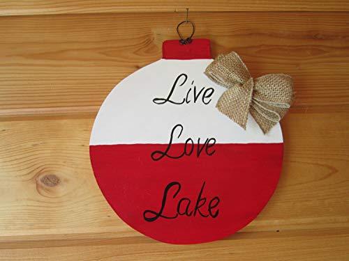 Letrero de madera con texto en inglés 'Live Love Lake' impreso a mano en forma de cartel de madera con forma de cabina de bobina para decoración de pared de cabina, regalo de la decoración del lago del lago de la casa, lago del hogar