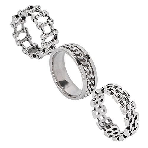 Anillo de 3 piezas de joyería, fácil de usar y quitar Hueco 3 piezas de anillo exquisito para hombres Conjunto de tres piezas Patrón delicado para bodas, fiestas