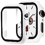 Miimall Panzerglas Schutzfolie Kompatibel mit Apple Watch Series 3 / Series 2 38mm, PC Schutzhülle + Bildschirmschutz, Ultra Dünn Vollschutz Anti Kratzfest Hülle für Apple Watch 38mm - Weiß