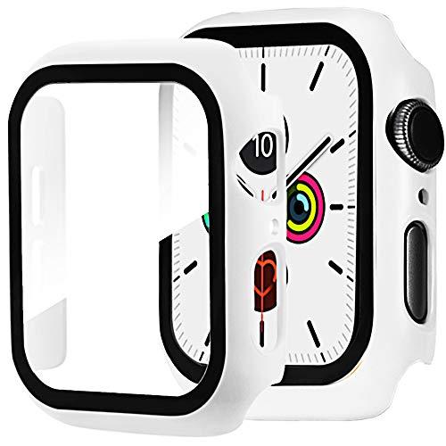 Miimall Kompatibel mit Apple Watch Series 6/SE/5/4 44mm PC Schutzhülle mit Panzerglas Displayschutz, Ultra Dünn Vollschutz Kratzfest Hülle für Apple Watch 44mm - Weiß