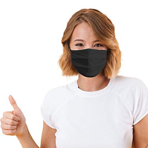 10 x Gesichtsmaske Sigi M011 wiederverwendbar waschbar 2 lagig 100% Baumwolle Unisex Maske nachhaltig schwarz