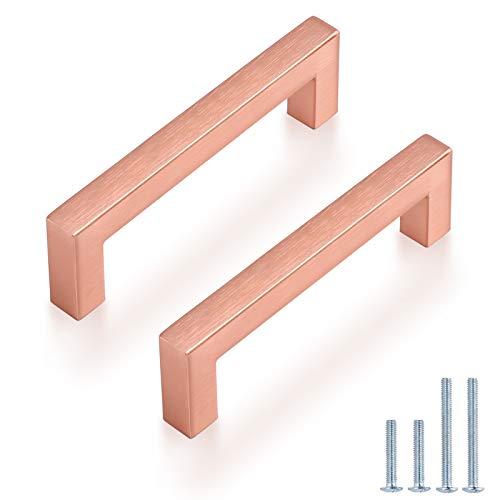 Probrico - Confezione da 20 pomelli per armadio da cucina, 102 mm, in acciaio INOX spazzolato, per cassetti e cassetti, colore: oro rosa