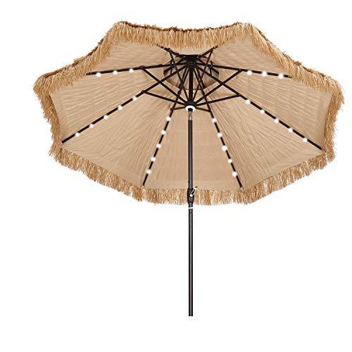 9 Ft Tiki Beach Umbrella Solar Led Light Tropical Hawaiian Style 2-tier Thatched Umbrella for Patio Pool.
