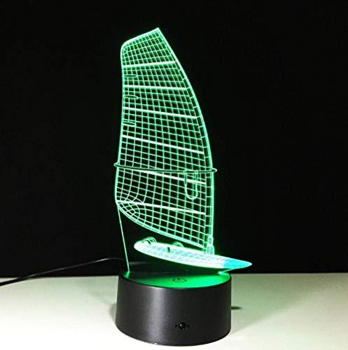 Lámpara de ilusión de luz nocturna 3D lámpara de cabecera forma de velero 7 tipos de interruptor táctil que cambia de color decoración de escritorio luz cumpleaños regalo de Navidad cinturón