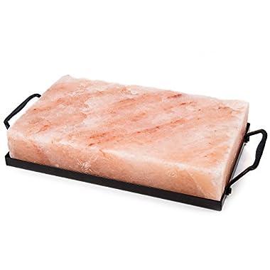 Zenware 10  x 6  x 2  Natural Himalayan Block Cooking Salt Plate & Holder Set - Black