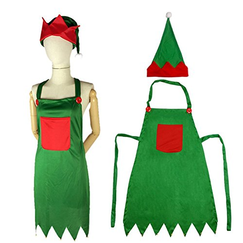 Lesirit Christmas Kitchen Apron Xmas Party Cooking Apron with Pockets & Hat & Bells (2)
