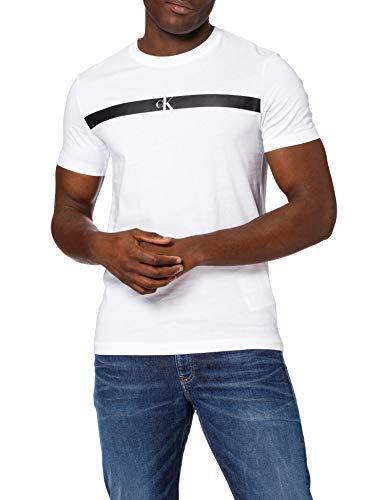 Calvin Klein Jeans Horizontal CK Panel Tee T-Shirt, Bianco Brillante, L Uomo
