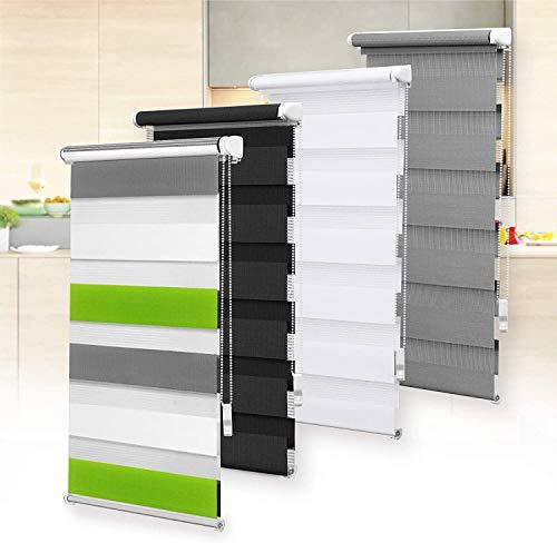 OBdeco Doppelrollo Duo Rollo Klemmfix ohne Bohren für Fenster lichtdurchlässig und verdunkelnd (75x220cm(Stoffbreite:ca.71cm), Weiss+grün+grau)