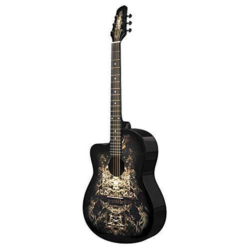 Guitarra acústica negra para zurdos 933C 'Alien' de Lindo y estuche para guitarra
