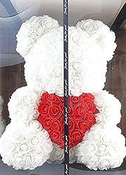 Blumenhandel Nadir Gezer Weiße künstliche Rosenbären mit rotem Herz 40cm inklusive Geschenkbox - Rose Bear with Heart 40 cm incl. giftbox (Weiß)