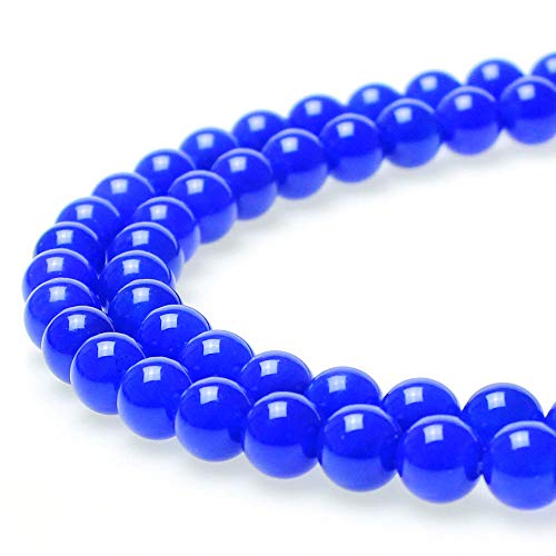 JarTc 7A Natural Blue Agate Bead Stone Loose Beads for Necklace Bracelet Charms Jewelry Making 15 (10mm)