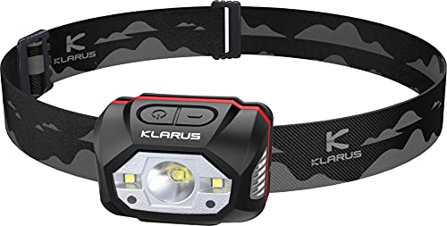 Klarus HM1 440 Lumen wiederaufladbare Gestensensor Stirnlampe Kopflampe, 5 Modi 70 Stunden Laufzeit, IPX6 wasserdichtes LED Stirnlampe für Laufen, Camping, Wandern, Jagen