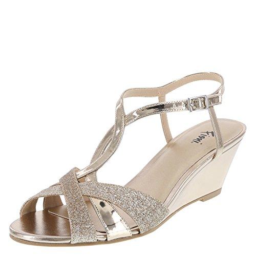 Fioni Champagne Shimmer Women's Grace Low-Heel Wedge 6 Wide
