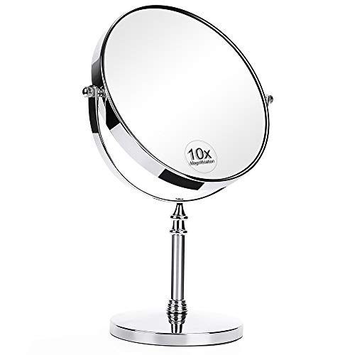 KEDSUM 8-Inch Large Double Sided 1X/10X Magnifying Makeup Mirror, 360 Degree Swivel Vanity Mirror with Magnification, Travel Mirror with Stand and Removable Base