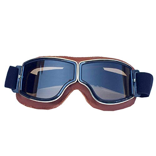 Blisfille Gafas Moto Vintage Vespa Gafas Trabajo Sol,Naranja Marrón
