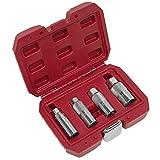 Sealey AK6556 - Juego de 4 bujías (3/8', cuadrados, 4 unidades), color rojo