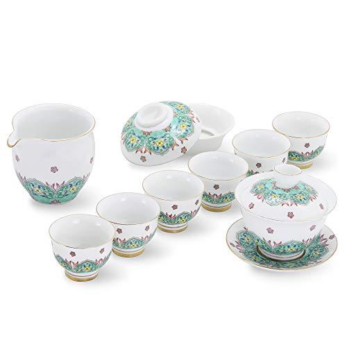 ufengke Nachahmung Farbe Emaille Porzellan Tee-Set für Kung Fu,9 Stück Grüne Blumen und Pflanzen Antik Tee Set