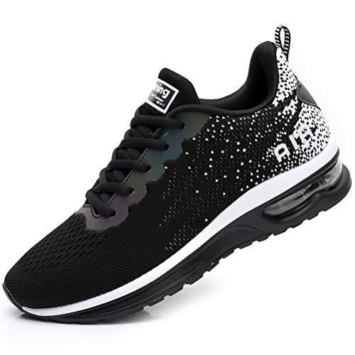 FLARUT Scarpe da Ginnastica Corsa Sportive Fitness Donna Running Sneakers Basse Interior Air Casual all'Aperto(Nero,37)