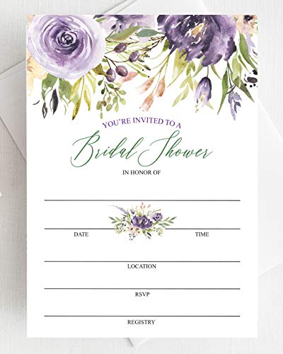 Set of 25 Purple Bridal Shower Invitations with Envelopes — Fill-in Style Invites with Envelopes