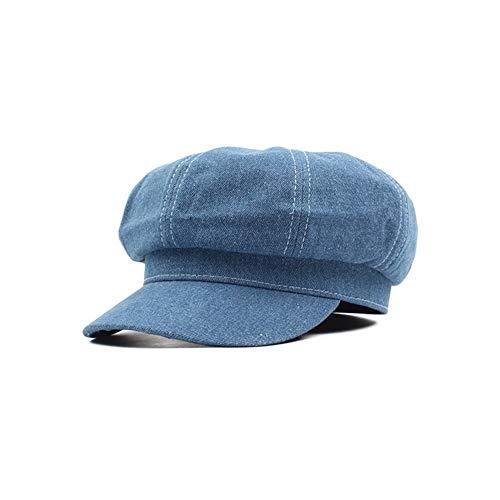ヴィンテージレディースメンズキャスケット帽は、八角形のベレー帽ベイカーボーイキャップデニムフラット軍事ハットガヴローシュ帽子をピークド UVプロテクション (Color : Blue)