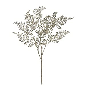 "Silk Flower Arrangements Arcadia Silk Plantation 33"" Glittered Maidenhair Fern Spray Tiffany Gold (Pack of 12)"